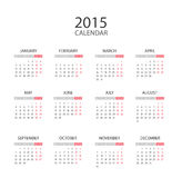 English Calendar 2015. Extremely carefully designed calendar for 2015 in english language isolated on white background. Starts Monday, Helvetica font used Vector Illustration