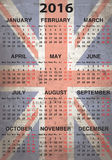 English calendar 2016. Graphic illustration of the English calendar 2016 Royalty Free Stock Photo