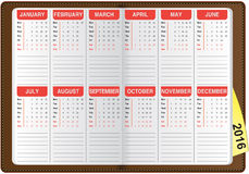 English calendar 2016. Graphic illustration of the English calendar 2016 Stock Photo
