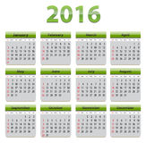 2016 English calendar. Green calendar for 2016 year in English language Stock Photos