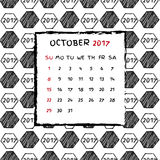English Calendar 2017. Hand drawn football pattern Stock Photography