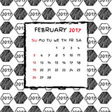 English Calendar 2017. Hand drawn football pattern Royalty Free Stock Photo