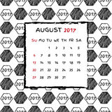 English Calendar 2017. Hand drawn football pattern Stock Photo