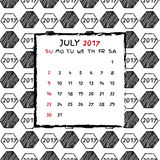 English Calendar 2017. Hand drawn football pattern Stock Images
