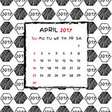 English Calendar 2017. Hand drawn football pattern Stock Photos