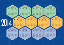 2014 english calendar with hexagons. Flat colours vector illustration