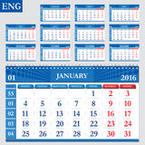 English calendar 2016. Horizontal calendar grid, vector Stock Image