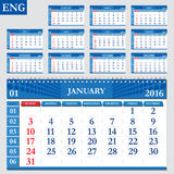 English calendar 2016. Horizontal calendar grid, vector Stock Photos