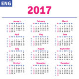 English calendar 2017. Horizontal calendar grid, vector Stock Photo