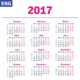 English calendar 2017. Horizontal calendar grid, vector Vector Illustration