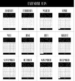 English calendar 2018, 12 month calendar with constellations. 12-month calendar 2018 with constellations, graphic, with black accents on a white background Royalty Free Stock Photography
