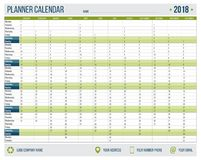 English calendar planner for year 2018. 12 months, corporate design planner template, size A4 printable calendar. Templates. Green military style stock illustration