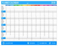 English calendar planner for year 2018. 12 months, corporate design planner template, size A4 printable calendar. Templates. Blue color Stock Images