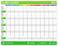English calendar planner for year 2018. 12 months, corporate design planner template, size A4 printable calendar. Templates. Green color Stock Photography