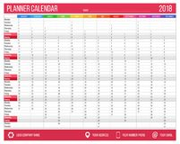 English calendar planner for year 2018. 12 months, corporate design planner template, size A4 printable calendar. Templates. Red pink color stock illustration