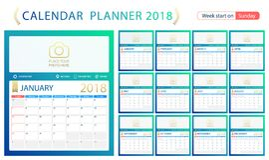 English calendar planner for year 2018, week start Sunday. Set of 12 months, corporate design planner template, size A4. English calendar planner for year 2018 Stock Illustration