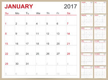 English Calendar 2017. English planning calendar 2017, January - December, week starts on Sunday, vector illustration Stock Photo