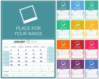 English Calendar 2018. English planning calendar 2018, set of 12 month January - December, week starts on Sunday, colorful calendar template, vector illustration Stock Image
