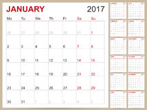 English Calendar 2017. English planning calendar 2017, week starts on Monday, vector illustration Stock Images