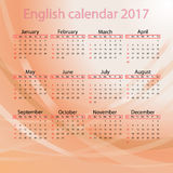 English calendar 2017  on red background Stock Photo