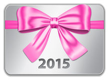 2015 English calendar_red. 2015 gift card with nice pink bow. Ribbon. Vector Royalty Free Stock Images