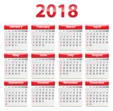 2018 English calendar red glossy. Calendar for 2018 year in English. Red and glossy. Vector illustration Stock Image