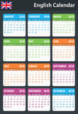 English Calendar for 2018. Scheduler, agenda or diary template. Week starts on Monday Royalty Free Stock Photography