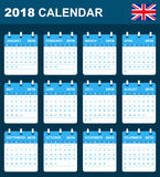 English Calendar for 2018. Scheduler, agenda or diary template. Week starts on Monday Stock Image