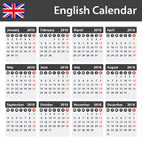 English Calendar for 2018. Scheduler, agenda or diary template. Week starts on Monday Stock Images