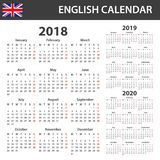 English Calendar for 2018, 2019 and 2020. Scheduler, agenda or diary template. Week starts on Monday Royalty Free Stock Images