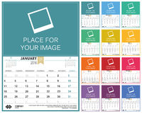 English calendar 2016 Royalty Free Stock Photography