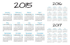 English Calendar 2015-2016-2017 vector. Blue and black stock illustration