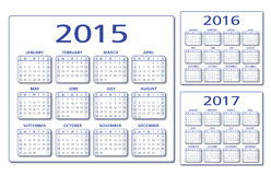 English Calendar 2015-2016-2017 vector. English Calendar 2015 2016 2017 illustration vector blue and grey With drop shadow. Compatible CS10 two layers royalty free illustration