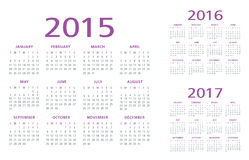 English Calendar 2015-2016-2017 vector. English Calendar 2015 2016 2017 illustration vector purple and grey Stock Images