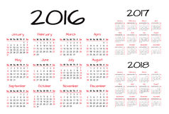 English Calendar 2016-2017-2018 vector illustration. Red and black Stock Photography