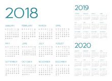 English Calendar 2018-2019-2020 vector. Text is outline font is armata vector illustration