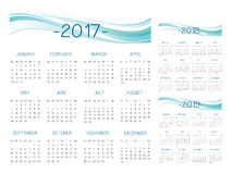 English Calendar 2017-2018-2019 vector. Turquoise and blue text is outline Royalty Free Stock Photo