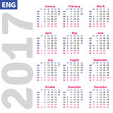 English calendar 2017. Vertical calendar grid, vector Royalty Free Stock Image