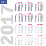 English calendar 2017. Vertical calendar grid, vector Stock Illustration