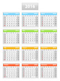 2016 English calendar. Weeks starting from Sundays. Vector illustration Stock Photo