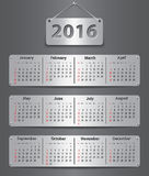 2016 English calendar. Calendar for 2016 year in English attached with metallic tablets. Vector illustration Stock Photo