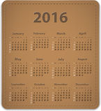 2016 English calendar. Calendar for 2016 year on brown leather background in English. Vector illustration Stock Photography