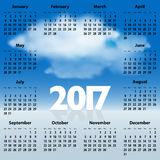 English Calendar for 2017 year with clouds in the blue sky royalty free stock photos
