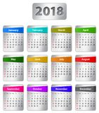 2018 English calendar. Calendar for 2018 year in English with colorful stickers. Vector illustration Royalty Free Stock Photo