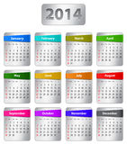 2014 English calendar. Calendar for 2014 year in English with colorful stickers. Vector illustration stock illustration