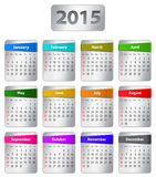 2015 English calendar. Calendar for 2015 year in English with colorful stickers. Vector illustration Royalty Free Illustration