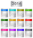 2016 English calendar. Calendar for 2016 year in English with colorful stickers. Vector illustration Royalty Free Stock Photography
