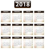 2018 English calendar Stock Photography
