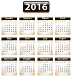 2016 English calendar Royalty Free Stock Photography