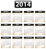 2014 English calendar. Calendar for 2014 year with torn papers. Vector illustration stock illustration